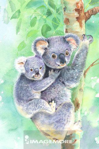 创意,想法,水彩画,白天,无人,室外,树,直图,树干,抱着,二只动物,动物